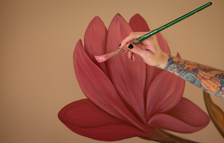 Gaslamp wall mural lotus